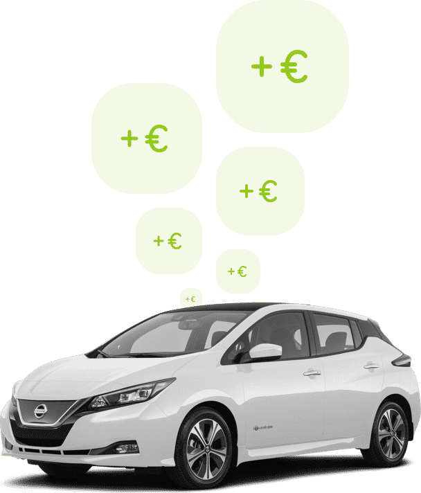 FIGO Nissan Leaf elektrische deelauto. Bespaar geld op je private lease contract door te shareleasen.